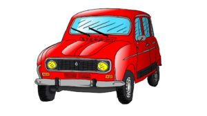 Car R4 Drawing Illustration Renault Auto
